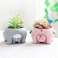 mini bonsaï décoration achat en gros de-Eco-Friendly Upside Down animaux Résine Planters Pour Succulentes Kawaii Mignon Mini Pots de fleurs pour bureau Bonsai jardin Décoration