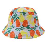 bebek yaz kovası şapkaları toptan satış-Bebek Güneş Şapka Bebek Armut Baskı Sunbonnet Kapaklar Pamuk İki taraflı Balıkçı Kap Erkek Kız Yaz Kova Şapka