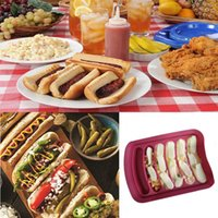 Wholesale Silicone Cake Mold Boxing - DIY 6-link Sausage Mold Silicone Egg Sausage Cake Ham Sausage Box Hot Dog Maker Kitchen Microwave Oven Baking Tools YYA1149