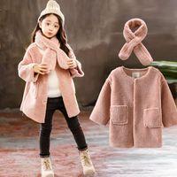 девушки зимние пальто оптовых-2018  Girls Winter Autumn Warm Coat Girls School Christmas Cute Fur Outwear Child Long Sleeve Princess Keep Warm Coat