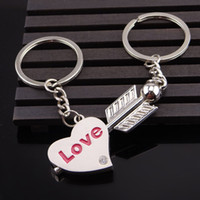 kalpler anahtarlıkları seviyor toptan satış-Aşk tanrısı Ok Çiftler Için Aşk Kalp Kolye Anahtarlıklar Aşk Kalp Anahtar Yüzükler sevgililer Günü Hediye Anahtar Tutucu Destek FBA Drop Shipping G654Q