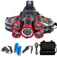 t6 scheinwerfer taschenlampe großhandel-40000 Lumen LED-Scheinwerfer 5 * T6 4 Modi Zoomable LED-Scheinwerfer Wiederaufladbare Stirnlampe Taschenlampe + 2 * 18650 Batterie + AC / DC-Ladegerät + BOX