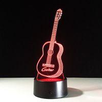 ingrosso luci dello strumento musicale-Illusion 3D Night Light Lamp Touch Switch Colorful Chitarra strumento musicale # R42
