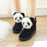 Wholesale lovely leather black boots online - 2019 Winter Women s Boots Female Rabbit Ear Lovely Boots Waterproof and Velvet with Thick Warm Cotton Shoes