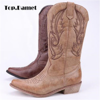 bottes de moto à bout pointu achat en gros de-Top.Damet Femmes genou bottes hautes en cuir PU Cowboy Cowgirl Boot bout pointu Slip-On Western Girls Moto chaussures femme dames