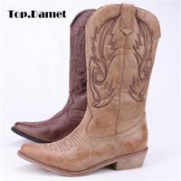 diz boyu kızlar için çizmeler toptan satış-Top.Damet Kadınlar Diz Yüksek Çizmeler PU Deri Kovboy Cowgirl Boot Sivri Burun Slip-On Batı Kızlar Motosiklet Ayakkabı Kadın Bayanlar