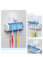 Wholesale Suction Cup Wall Hook - 2018 New Plastic Dust-proof Toothbrush Holder Bathroom Kitchen Family Toothbrush Suction Cups Holder Wall Stand Hook 5 Racks