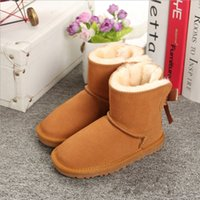 Wholesale canvas children boot online - Girls Australia Style Ugs mini Kids Snow Boots Cute Bow Back Waterproof Slip on Children Winter mini Leather Boots EU21