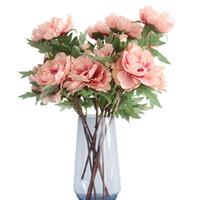 ingrosso decorazioni di fiori artificiali di valentines-Artificiale Fiore Ortensia Peonia Bouquet da sposa Fiore di seta Per il matrimonio Festa di San Valentino Decorazione casa fai da te