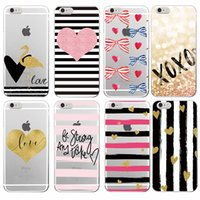 Wholesale Iphone 5s Bow - Stripe Heart Bow Knot Flamingo Love Soft TPU Case for iPhone 7Plus 7 6 6S 6Plus 5 5S 8 8Plus X