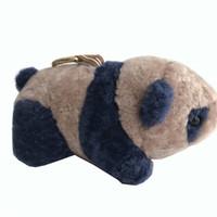 Wholesale kids backpacks cars for sale - Pear Pink Navy Blue Real Shearling Sheep Fur Panda Charm Bag Backpack Pendant Car Keychain Kids Doll