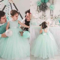 Wholesale Cut Out Back Wedding Dress - Lovely 2017 Mint Tulle Ball Gown Flower Girl Dresses For Weddings Jewel Cut Out Back Bow Sash Floor Length Birthday Party Gown