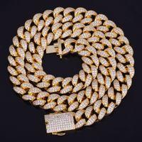 goldketten kubanische links großhandel-Neue Heiße Verkäufer 20mm Iced Out Zirkon Kubanische Halskette Kette Hip Hop Schmuck Kupfer Material CZ Verschluss Herren Halskette Link 18-28 zoll