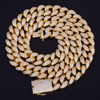 Wholesale hot cuban link chain for sale - Group buy New Hot Seller mm Iced Out Zircon Cuban Necklace Chain Hip hop Jewelry Copper Material CZ Clasp Mens Necklace Link inch