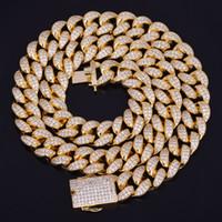 mücevherat bakır toptan satış-Yeni Sıcak Satıcı 20mm Buzlu Out Zirkon Küba Kolye Zincir Hip hop Takı Bakır Malzeme CZ Toka Erkek Kolye Bağlantı 18-28 inç
