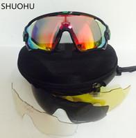 marcas de óculos de sol de bicicleta venda por atacado-Moda Óculos De Sol Com 5 Lente Marca Polarizada Jawbreaker Óculos De Sol Para Homens Mulheres Esporte Ciclismo Eyewear Bicicleta Correndo Mens Óculos De Sol