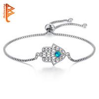pulseiras de opala para mulheres venda por atacado-BELAWANG Azul Opala De Cristal Do Mal EyeHamsa Alloy Pulseira de Prata Charme Pulseira Mão de Fátima Pulseira Ajustável para As Mulheres Da Moda Jóias