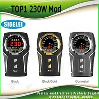 Wholesale Design Cool - Original Sigelei TOP1 230W TC Box Mod Dual 18650 Battery First Clock Screen Cool Design Vape Ecig Mods 100% Authentic