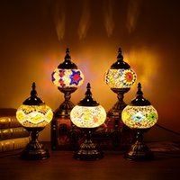 Wholesale Mediterranean Bedside Lamps - Mediterranean return to ancient romantic gifts, gifts, gifts, personality, creative bedroom, bedside study, handmade glazed Turkey desk lamp