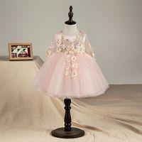 qualität taufkleider großhandel-Hochwertiges neugeborenes Blumenbaby-Taufkleid-Rosa-Tüll-Säuglingsmädchen-Prinzessin Baptism Dress Toddler Birthday Clothes