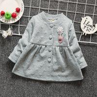 Wholesale Cola baby girl button cardigan solid color set child autumn leisure long sleeve cotton sunflower children s wear clothes