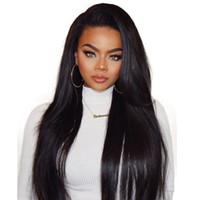 leichte kastanienbraune lange lockige perücken großhandel-Gerade Menschenhaarperücken für Schwarze Frauen Gebleichte Knoten Lace Front Perücken Peruanische Malasian Indische Brasilianische Reine Haarperücke