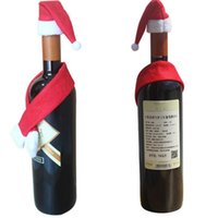 Wholesale Cheap Christmas Trees Decorations - Merry Christmas hat scarf red wine bottle cheap-christmas-ornament decorations for home navidad #TX