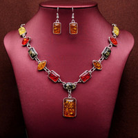 серебряный квадратный шарм бисер оптовых-whole sale2018 Vintage African Beads Jewelry Sets for Women Fashion Silver Color Square Charms Necklace Earrings Wedding Jewelry Sets Gift