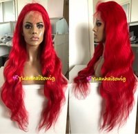 Wholesale 32 inch human hair wigs resale online - Red Lace Front Wigs Brazilian Virgin Human Hair Wavy Red Full Lace Wigs inches Body Wave