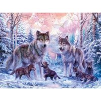 Wholesale New stone painting diamond wolf family painting square Diamond Embroidery Full Paste Square Cross Stitch Home Decoration Paintings