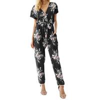 0748a15e657 casual jumpsuit shorts jeans UK - Women Floral Boho Workwear Jumpsuit Short  Sleeve Casual Loose Belt