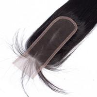 bakire hint saçları yol kapanışı toptan satış-2x6 Dantel Kapatma Düz Bebek Saç ile Uzun Orta Kısmı Yol Brezilyalı Pervian Maylasiian Virgin İnsan Saç Ham Bakire Hint Düz Üst