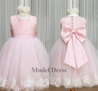 Wholesale discounted girls dresses - 2018 Pink Flower Girl Dresses Jewel Bow Sash Lace Appliques Little Lovely Tulle Satin Ball Gown Princess Pageant Dress Cheap Online Discount