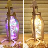 Wholesale penguin night light - wine bottle light LED light handwork night light wood penguin glass bottle best gift for Christmas, valentine's day