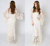fildişi maxi elbiseler toptan satış-Vintage-Inspired Bohemian Gelinlik Çan Kollu Dantel Tığ Fildişi veya Beyaz Hippi Gelinlik Boho Işlemeli Maxi Gelin Önlükler