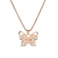 корейское ожерелье бабочки оптовых-Корейская оригинальность New Pattern Мода Изысканный кошачий глаз выдалбливают ожерелье бабочки Цепочка свитера золотые медальоны ожерелья для женщин
