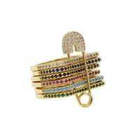 Wholesale fashion safety pins - whole saleAnillos Promotion 2018 gold filled top quality colorful band stack stackable fashion european women finger safety pin ring