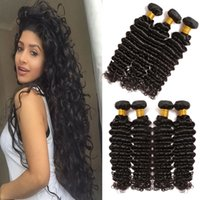 Wholesale Dark Brown Wavy Hair Weft - 8A Mink Peruvian Human Hair Deep Wave 3 4pcs Unprocessed Virgin Peruvian Deep Curly Wavy Weaving Hair Styles 8-26inch in Natural Color