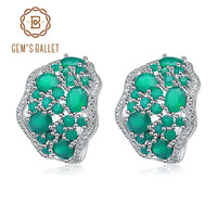серьги из стерлингового серебра оптовых-Gem's Ballet  8.04Ct Natural Green Agate Gemstone Stud Earrings 925 Sterling Silver Vintage Earrings For Women Fine Jewelry