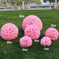 boules de grosses fleurs achat en gros de-Nouveau Chiffrement Artificiel Rose Fleur De Soie Embrassant Des Boules Grande Boule Suspendue Ornements De Noël De Noce Décorations