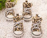 Wholesale female footwear - 2018 4pcs   lot Pet Leopard Shoes Dogs Walking Shoes Sneaker Anti-skidding Footwear Canvas Shoes Suppliers size1#-8#