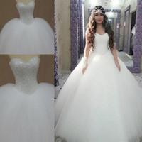 vestido de novia de princesa rebordear al por mayor-El más nuevo diseño dulce princesa vestidos de novia Bling Bling lentejuelas rebordear vestidos de bola de organza Ocasión especial vestidos de boda