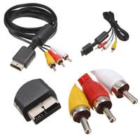kaliteli rca kablolar toptan satış-Sıcak Satış 6FT 1.8 M Ses Video AV Kablosu RCA SONY PS2 PS3 PlayStation 2 3 PS3 Için Yüksek Kalite Oyun kablosu