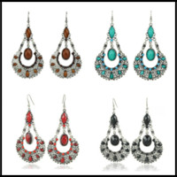 Wholesale natural ruby stone jewelry - Fashion 3 Styles 6*3cm Dangles Bohimia Styles Ruby Turquoise Natural Stone Chandelier Jewelry Earring for Women Ladies