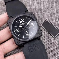 Wholesale watch female mechanical - Luxury Famous Brand BR Silicone Strap Men's Watch Homme Swiss 6-pin Mechanical Sports Military Watches Female Clock Relogio Masculino