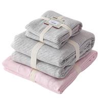 Wholesale burgundy quilts - 3-Piece-Suit Fied Sheet Quilt Duvet Cover Pillowcase Pillow Sham Bedding Set 100% Coon Jersey Gray Strip 1.2m 4 Feet Bed