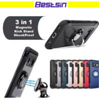 Wholesale free watch video - 3 in 1 Multiple function Phone caseShockproof Magnetic Suction Kickstand for Car Holder watching video for Iphone Samsung Free DHL