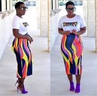 vestidos de poliéster feminino venda por atacado-Vestidos Africano Roupas Africanas de Poliéster 2018 Produtos de Moda Feminina Impresso Saco Quadril Saia Mulheres Vestido Set
