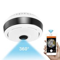 kam mp toptan satış-Mini Wifi IP Kamera 1080 P 360 Derece Kamera IP Balıkgözü Panoramik 2MP WIFI PTZ IP Kamera Kablosuz Video Gözetim Kamera