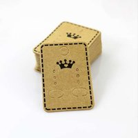 Wholesale hang tags printing - 100Pcs 4.5x3.2cm Craft Paper Ear Studs Card Hang Tag Jewelry Display Earring Crads Favor Label Tag Brown Color Crown Printing